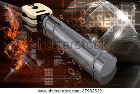 Digital illustration of ophthalmoscope in colour background
