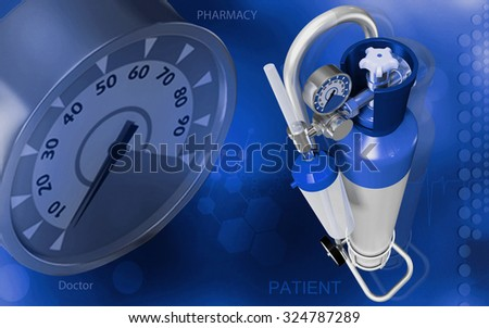 Digital illustration of oxygen cylinder in colour background - stock photo