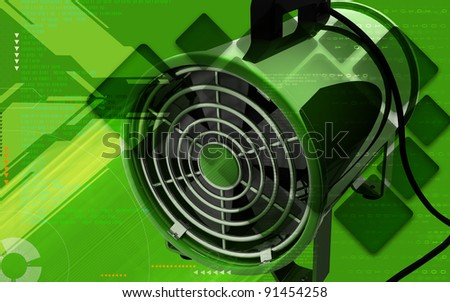 Digital illustration of Portable ventilator in colour background