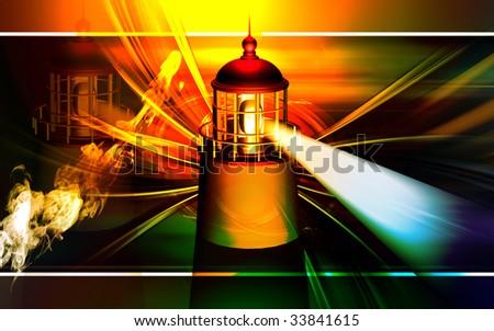 Digital illustration of Rocket in golden colour - stock photo