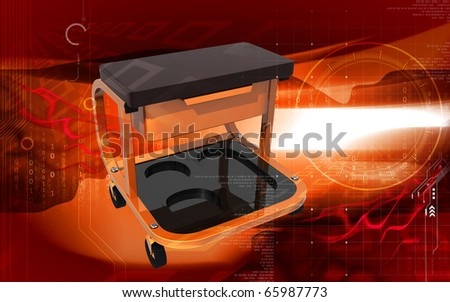 Digital illustration of Roller seat with drawer in colour background