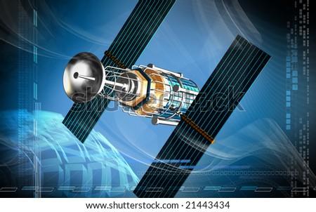 Digital illustration of satellite in colourful background  - stock photo