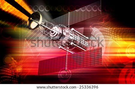 Digital illustration of satellite in colourful background