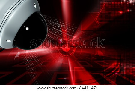Digital illustration of security camera in colour background