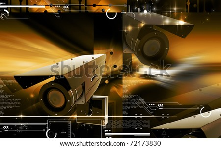 Digital illustration of security camera in colour background	3 - stock photo