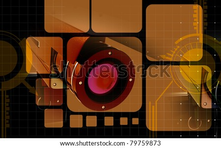 Digital illustration of security camera in colour background - stock photo