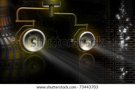 Digital illustration of shadow less lamp in colour background
