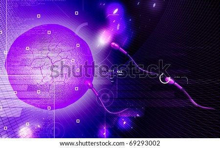 Digital illustration of sperm in color  background