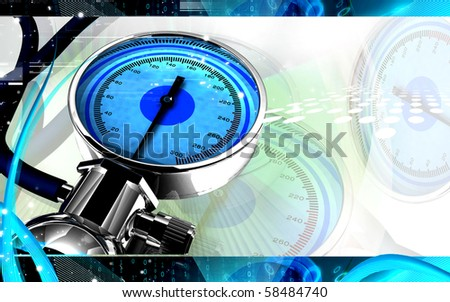 Digital illustration of sphygmomanometer in colour background