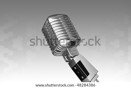 Digital illustration of steel microphone in isolated background