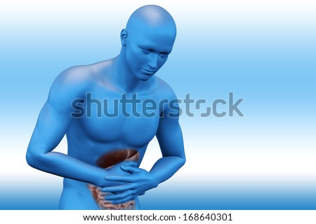 Digital illustration of stomach pain - stock photo