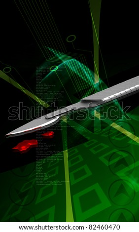 Digital illustration of  Surgical knife in colour  background