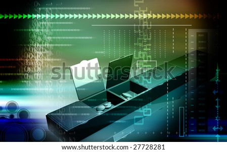 Digital illustration of tablets in rack boxes