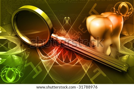 Digital illustration of teeth and magnifying glass in brown background  - stock photo