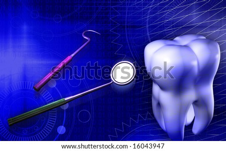 Digital illustration of teeth and  tools using by dentist   - stock photo