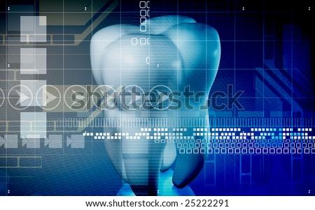 Digital illustration of teeth in blue colour   - stock photo