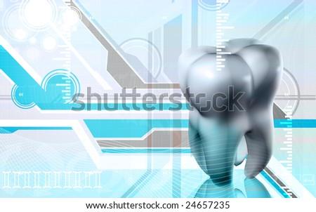 Digital illustration of teeth in green light   - stock photo