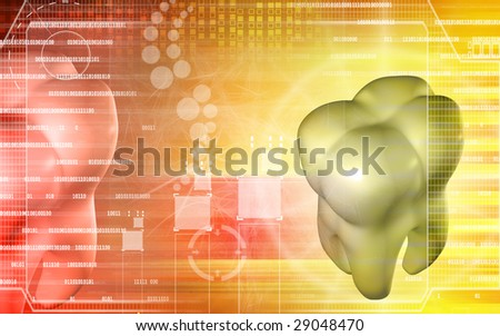 Digital illustration of teeth in   light  colour background - stock photo