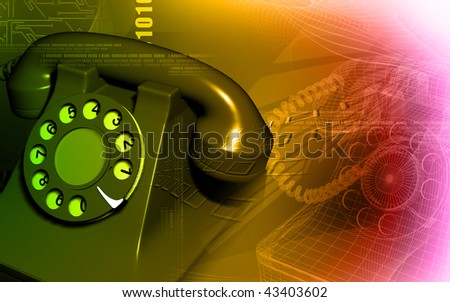 Digital illustration  of telephone in colour background