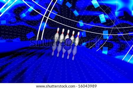 Digital illustration of Ten pin bowling - stock photo