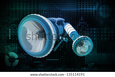 Digital illustration of Torch light cable in colour  background