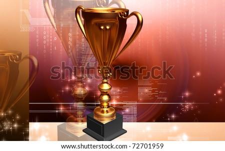 Digital illustration of Trophy in 3d - stock photo