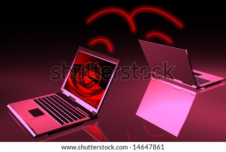 digital illustration of two laptops - stock photo