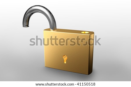 Digital illustration of unlock symbol in isolated background