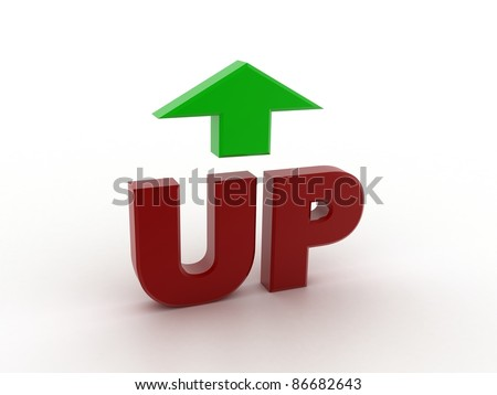 Digital illustration of up in 3d on white background - stock photo