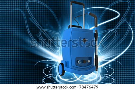 Digital illustration of vacuum cleaner  in colour background