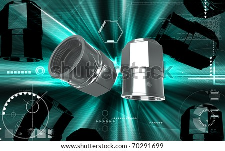 Digital illustration of Valve caps in colour background