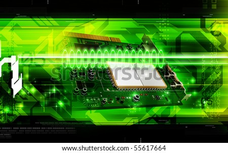 Digital illustration of video capture card in colour background - stock photo