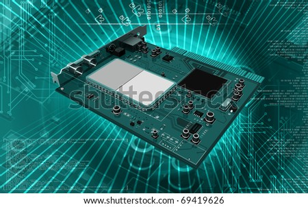 Digital illustration of video capture card in colour background