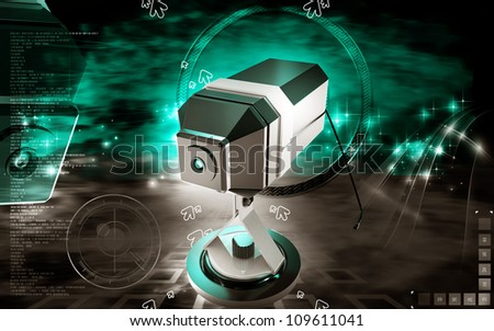Digital illustration of Web camera in colour background - stock photo