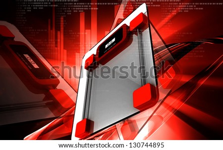 Digital illustration of  weight scale in  colour background