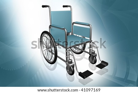 Digital Illustration of  wheel chair  in colour background