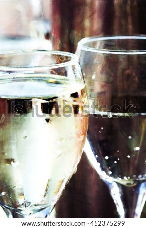 Digital illustration of white wine glasses - stock photo