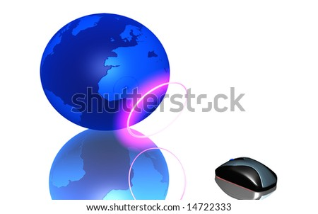 digital illustration of wireless mouse and earth - stock photo
