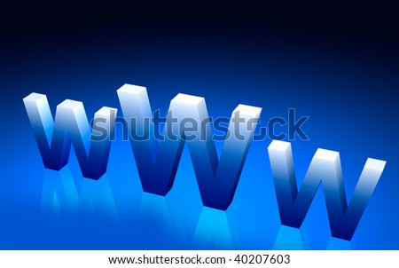 Digital illustration of www symbol in colour background