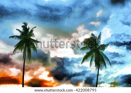 Digital illustration - palm trees and sky, palm trees on colorful blue background, summer sky illustration, tropical landscape with coco palm tree, palm tree silhouette, summer escape to  island  - stock photo