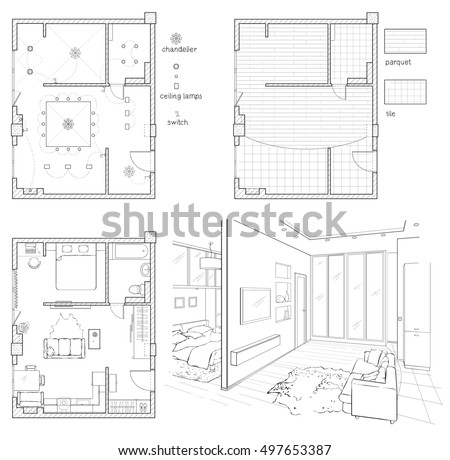 furniture design drawings. set of black and white drawings interior design. floor plan with furniture design