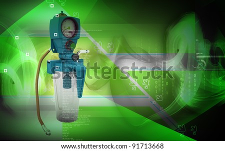 Digital illustration wall suction units  in colour background