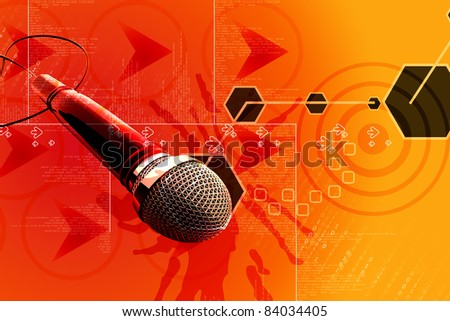 digital illustrations of 3d microphone - stock photo