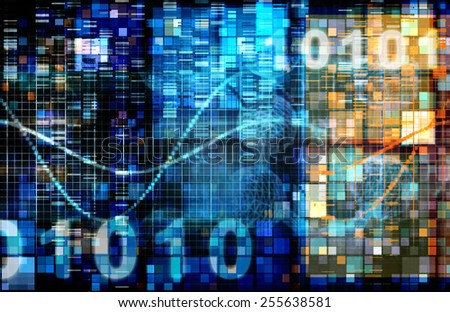 Digital Image Background with Binary Code Technology - stock photo