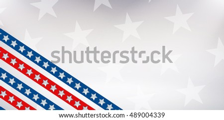 Digital image of American flag against starry background