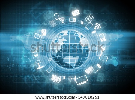 Digital image of globe with conceptual icons. Globalization concept - stock photo