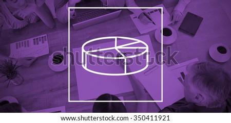 Digital image of pie chart against businesswoman working with colleagues in boardroom - stock photo
