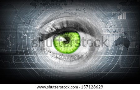 Digital image of woman's eye. Security concept - stock photo