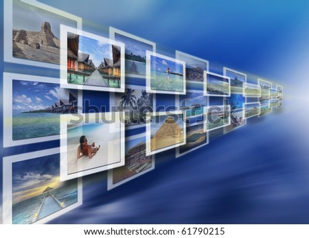 Digital images on the virtual screen - all pictures coming from my gallery - stock photo