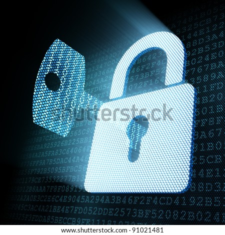 Digital key in padlock keyhole, 3d render - stock photo